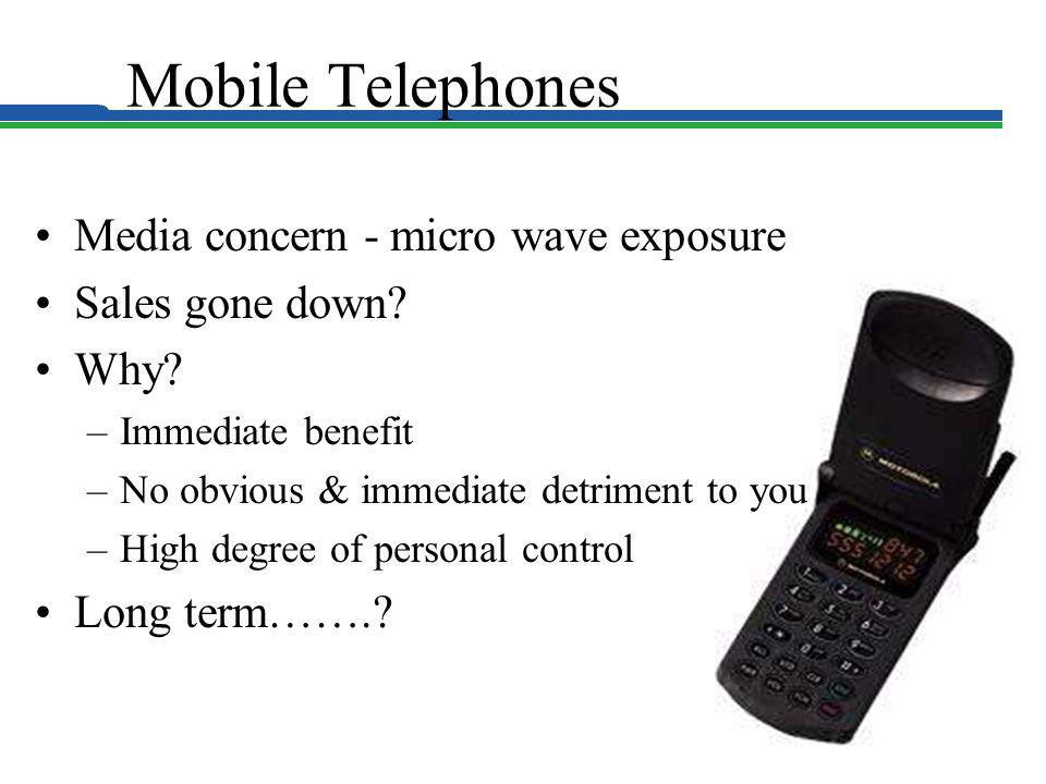 Mobile Telephones Media concern - micro wave exposure Sales gone down? Why? –Immediate benefit –No obvious & immediate detriment to you –High degree o