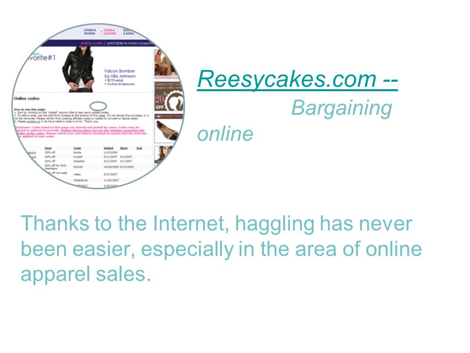 Reesycakes.com -- Reesycakes.com -- Bargaining online Thanks to the Internet, haggling has never been easier, especially in the area of online apparel