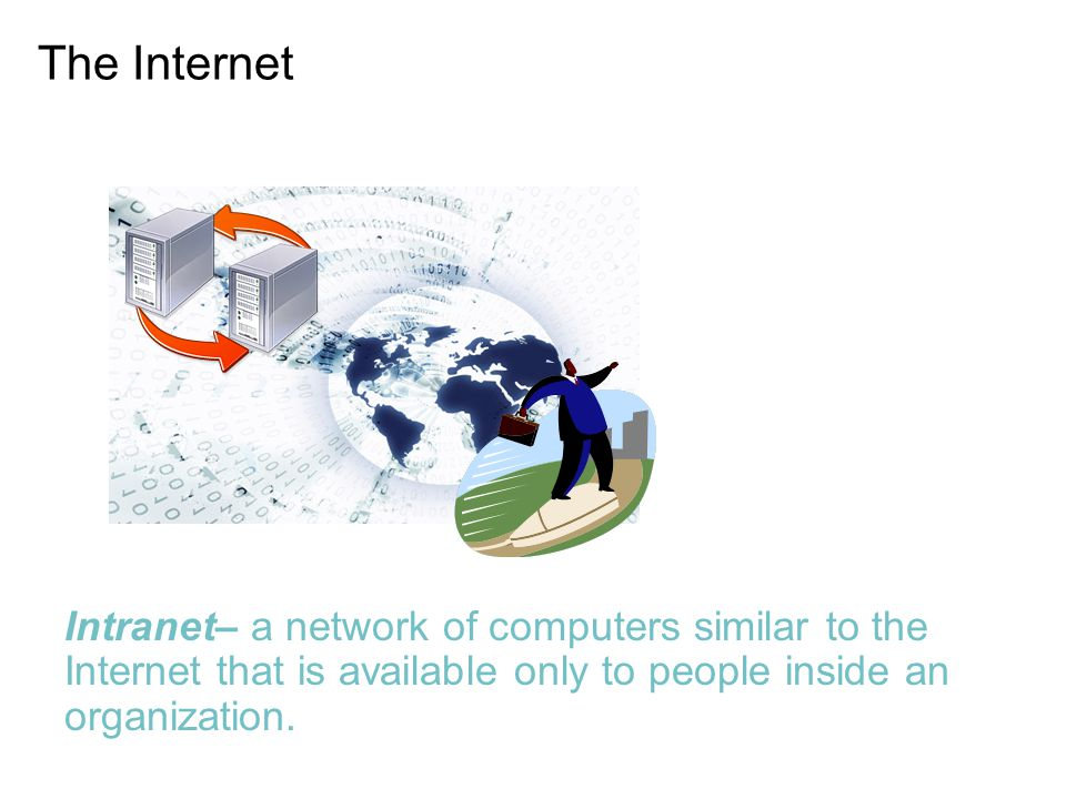 The Internet Intranet– a network of computers similar to the Internet that is available only to people inside an organization.