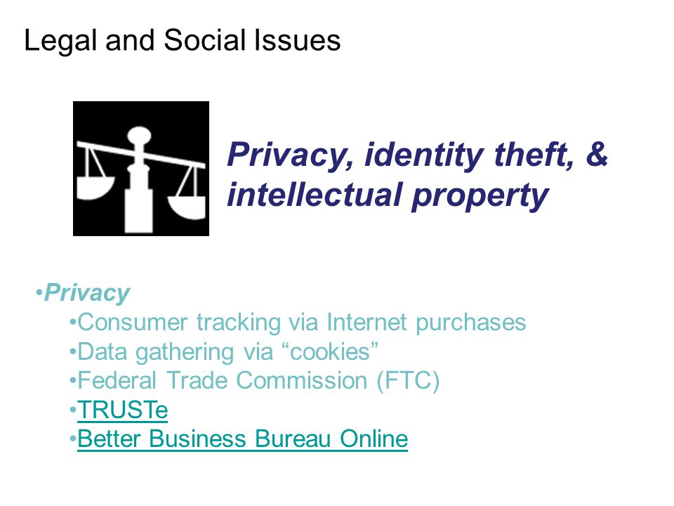 "Legal and Social Issues Privacy Consumer tracking via Internet purchases Data gathering via ""cookies"" Federal Trade Commission (FTC) TRUSTe Better Bus"