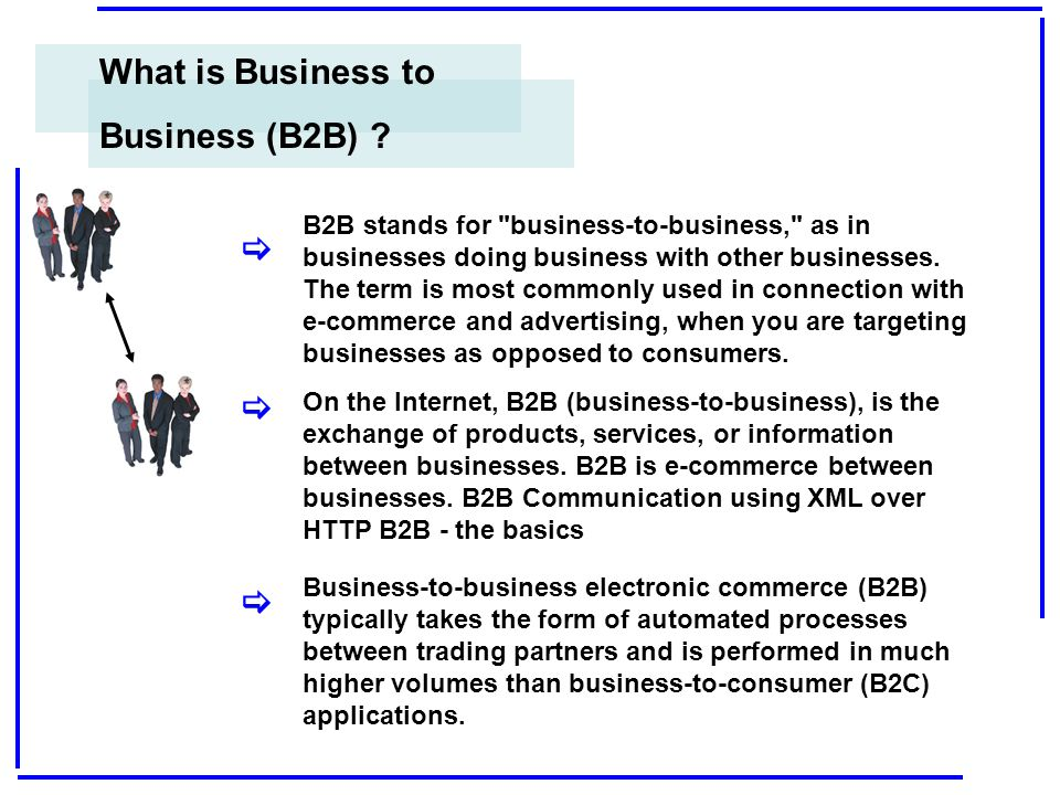 E-Business B2B– use of the Internet for transactions and communications between organizations.
