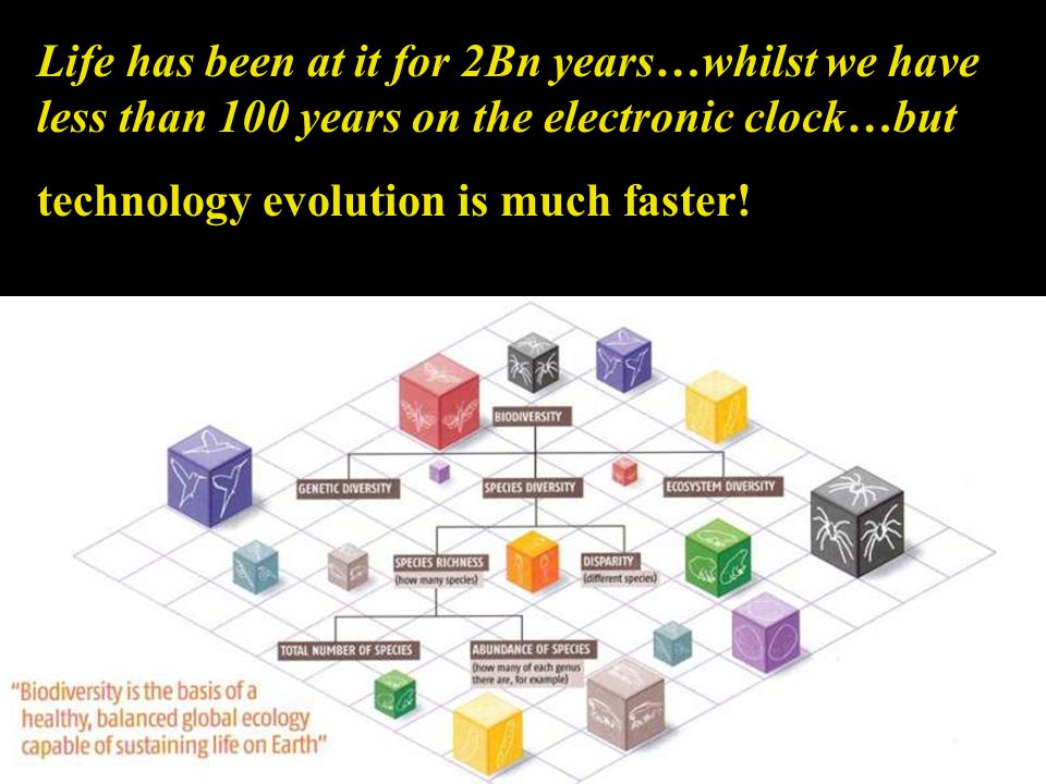Life has been at it for 2Bn years…whilst we have less than 100 years on the electronic clock…but technology evolution is much faster!