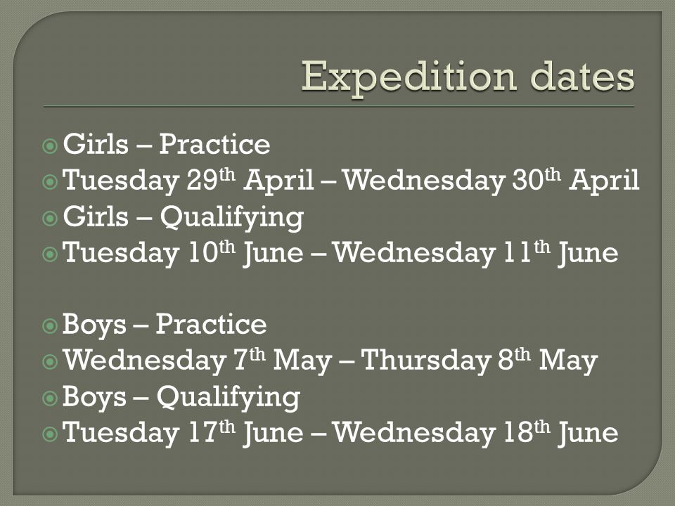  Girls – Practice  Tuesday 29 th April – Wednesday 30 th April  Girls – Qualifying  Tuesday 10 th June – Wednesday 11 th June  Boys – Practice 