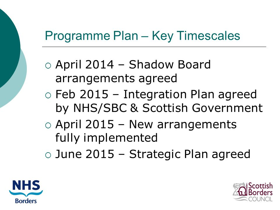 Programme Plan – Key Timescales  April 2014 – Shadow Board arrangements agreed  Feb 2015 – Integration Plan agreed by NHS/SBC & Scottish Government  April 2015 – New arrangements fully implemented  June 2015 – Strategic Plan agreed