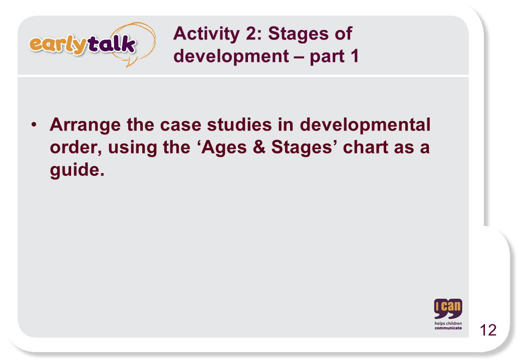 Activity 2: Stages of development – part 1 Arrange the case studies in developmental order, using the 'Ages & Stages' chart as a guide. 12