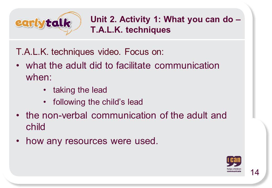 Unit 2. Activity 1: What you can do – T.A.L.K. techniques T.A.L.K.