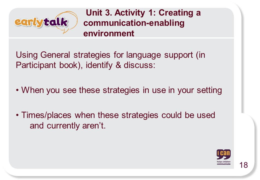 Using General strategies for language support (in Participant book), identify & discuss: When you see these strategies in use in your setting Times/pl