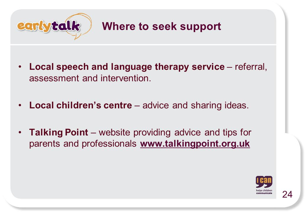 Local speech and language therapy service – referral, assessment and intervention.