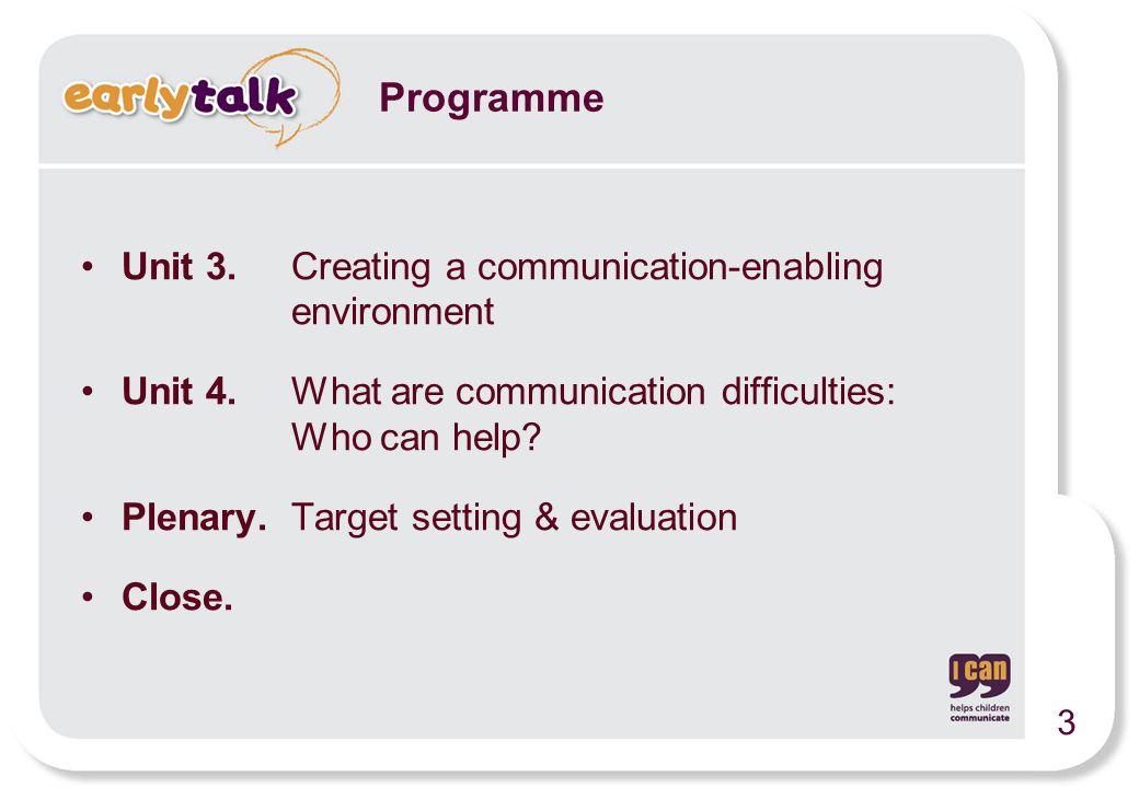 Unit 3. Creating a communication-enabling environment Unit 4.