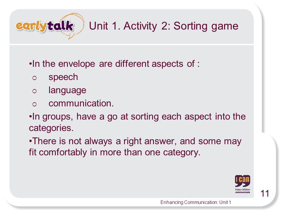 11 Enhancing Communication: Unit 1 Unit 1.