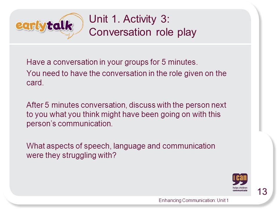 13 Enhancing Communication: Unit 1 Unit 1.