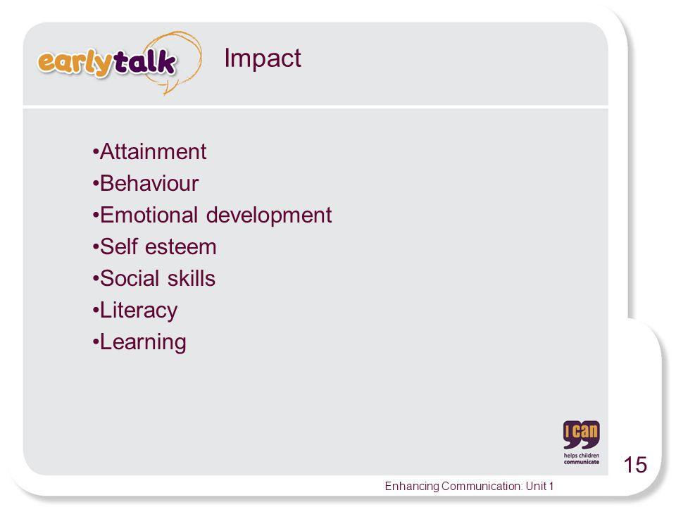 15 Enhancing Communication: Unit 1 Impact Attainment Behaviour Emotional development Self esteem Social skills Literacy Learning