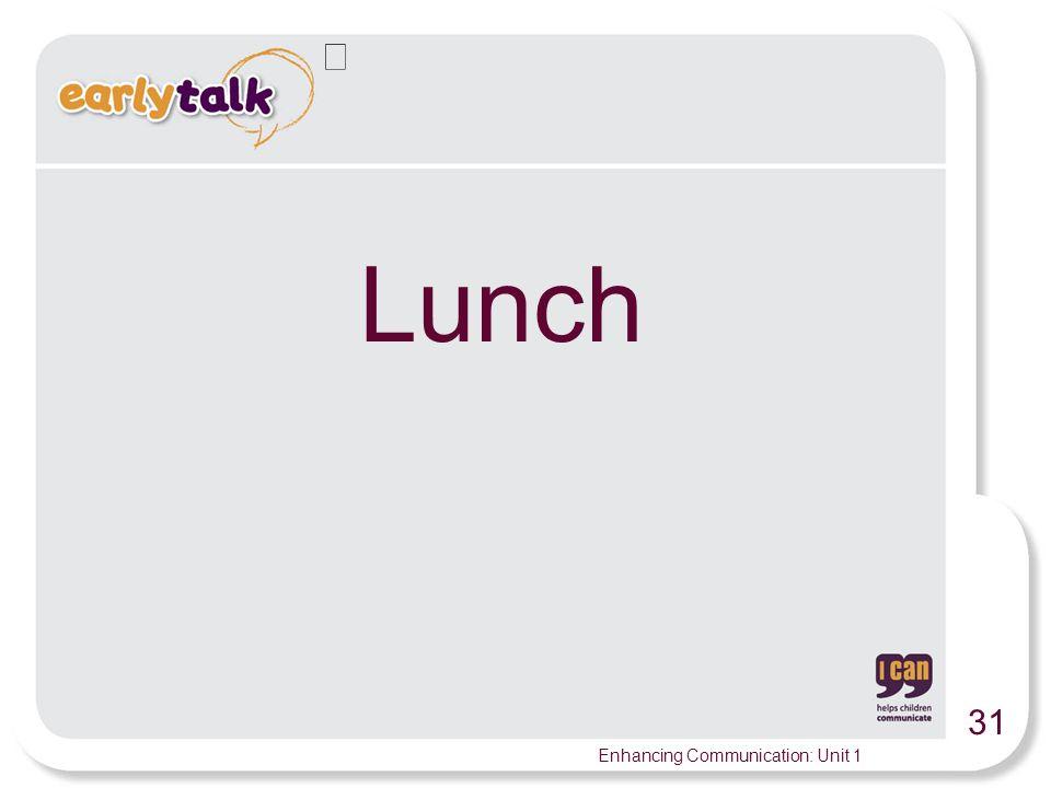 31 Enhancing Communication: Unit 1 Lunch