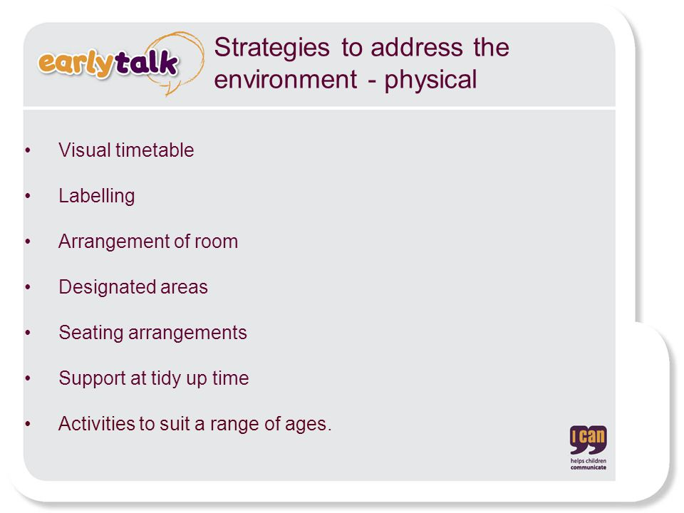 Strategies to address the environment - physical Visual timetable Labelling Arrangement of room Designated areas Seating arrangements Support at tidy up time Activities to suit a range of ages.
