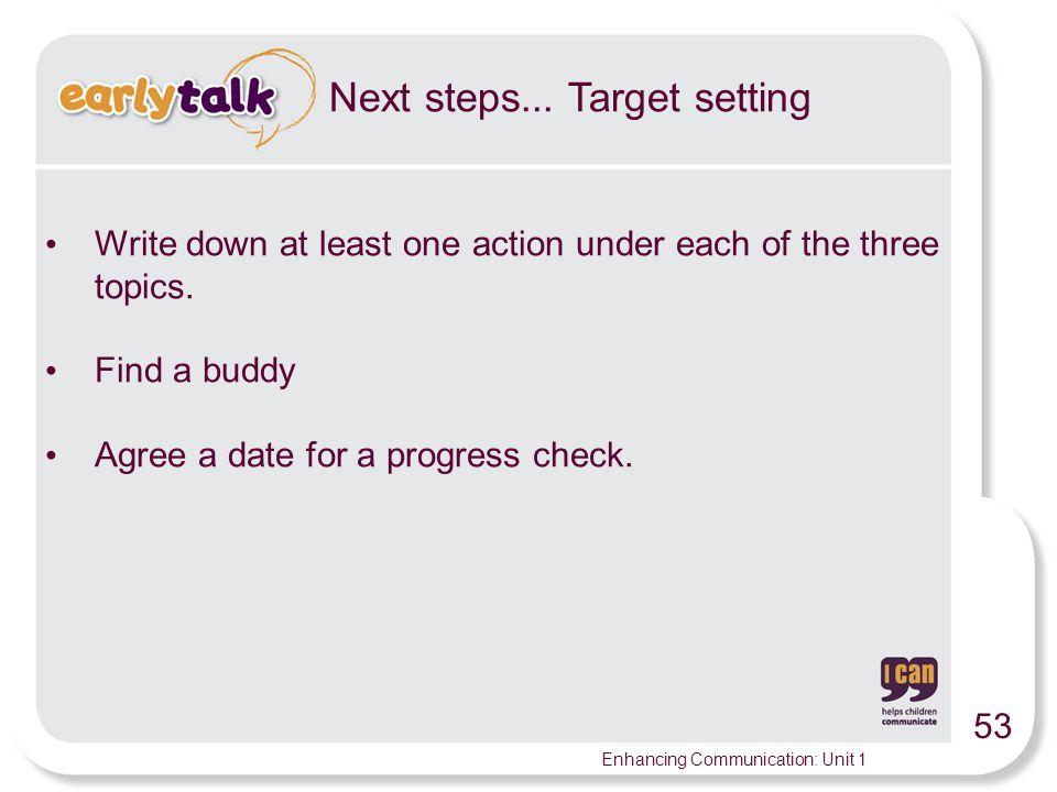 53 Enhancing Communication: Unit 1 Next steps...
