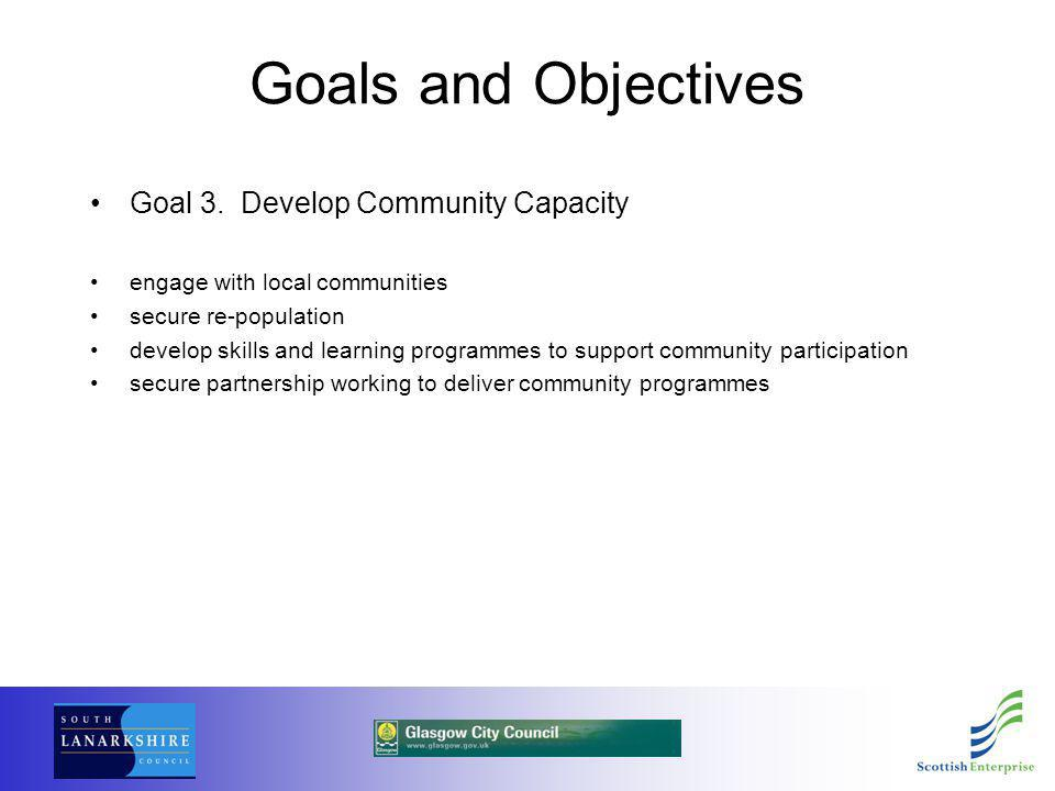Goals and Objectives Goal 3. Develop Community Capacity engage with local communities secure re-population develop skills and learning programmes to s