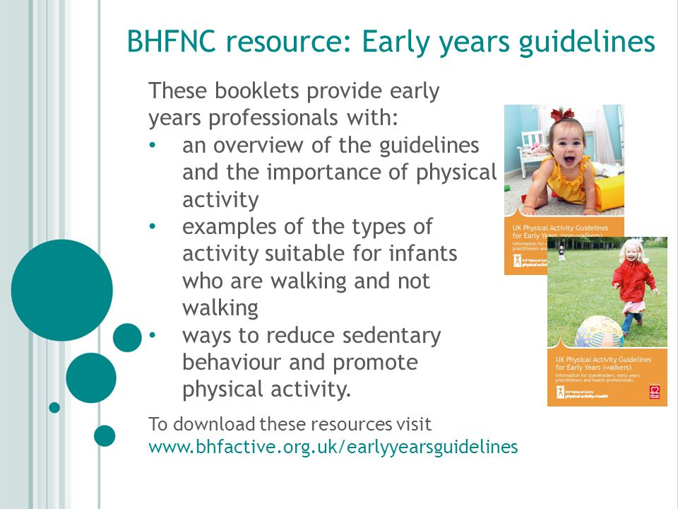 BHFNC resource: Early years guidelines These booklets provide early years professionals with: an overview of the guidelines and the importance of physical activity examples of the types of activity suitable for infants who are walking and not walking ways to reduce sedentary behaviour and promote physical activity.