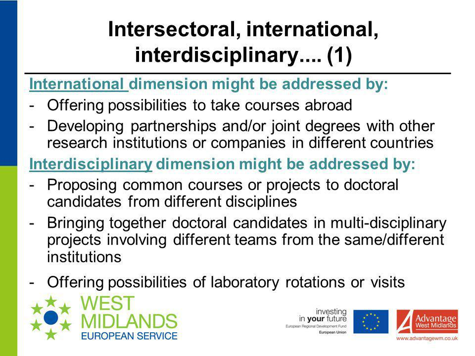 Intersectoral, international, interdisciplinary.... (1) International dimension might be addressed by: -Offering possibilities to take courses abroad