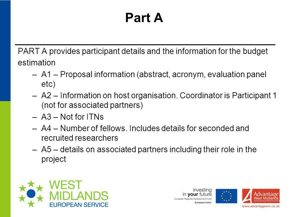 Part A PART A provides participant details and the information for the budget estimation –A1 – Proposal information (abstract, acronym, evaluation pan
