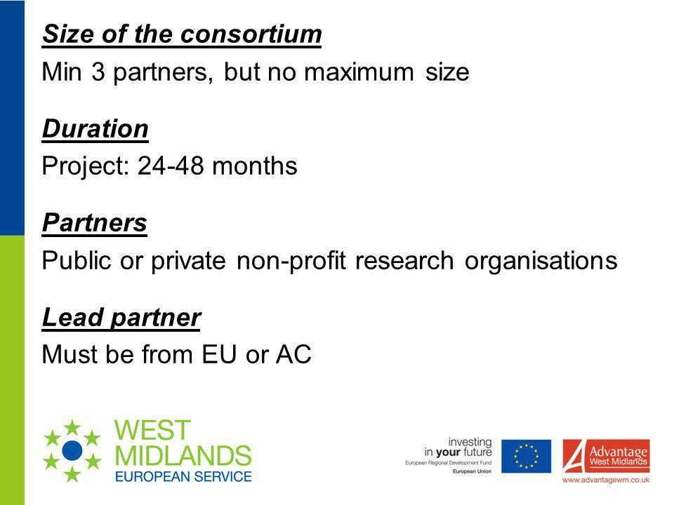 Size of the consortium Min 3 partners, but no maximum size Duration Project: 24-48 months Partners Public or private non-profit research organisations