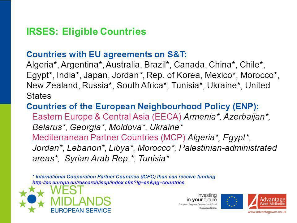 IRSES: Eligible Countries Countries with EU agreements on S&T: Algeria*, Argentina*, Australia, Brazil*, Canada, China*, Chile*, Egypt*, India*, Japan