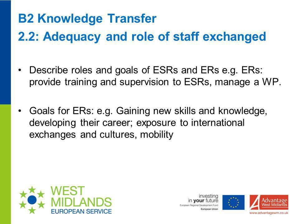 B2 Knowledge Transfer 2.2: Adequacy and role of staff exchanged Describe roles and goals of ESRs and ERs e.g. ERs: provide training and supervision to