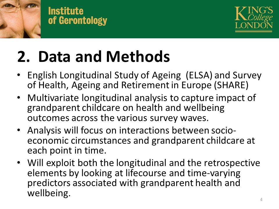 2. Data and Methods English Longitudinal Study of Ageing (ELSA) and Survey of Health, Ageing and Retirement in Europe (SHARE) Multivariate longitudina