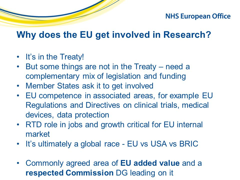 Why does the EU get involved in Research.It's in the Treaty.