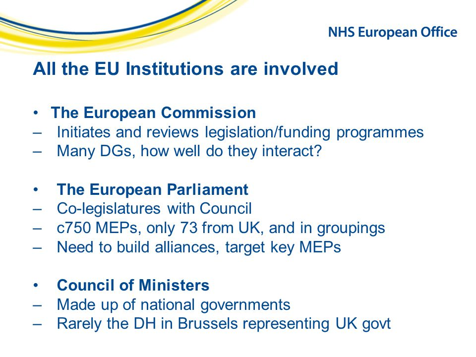 All the EU Institutions are involved The European Commission –Initiates and reviews legislation/funding programmes –Many DGs, how well do they interact.
