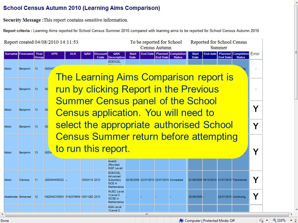 2 The Learning Aims Comparison report is run by clicking Report in the Previous Summer Census panel of the School Census application. You will need to