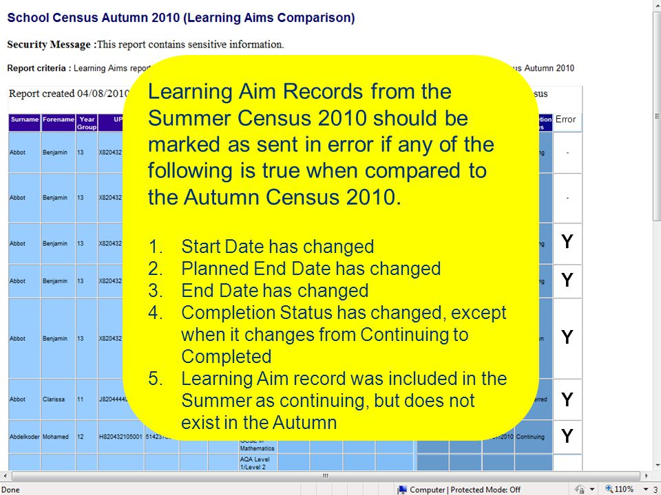 3 Learning Aim Records from the Summer Census 2010 should be marked as sent in error if any of the following is true when compared to the Autumn Censu