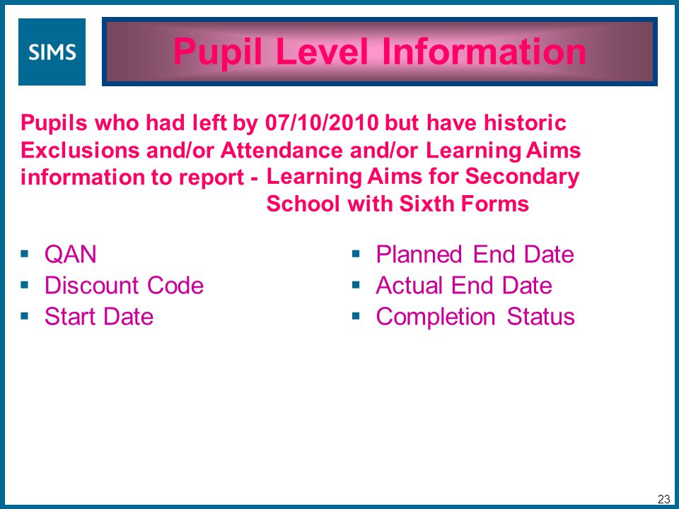 Pupil Level Information 23 Pupils who had left by 07/10/2010 but have historic Exclusions and/or Attendance and/or Learning Aims information to report -  QAN  Discount Code  Start Date  Planned End Date  Actual End Date  Completion Status Learning Aims for Secondary School with Sixth Forms