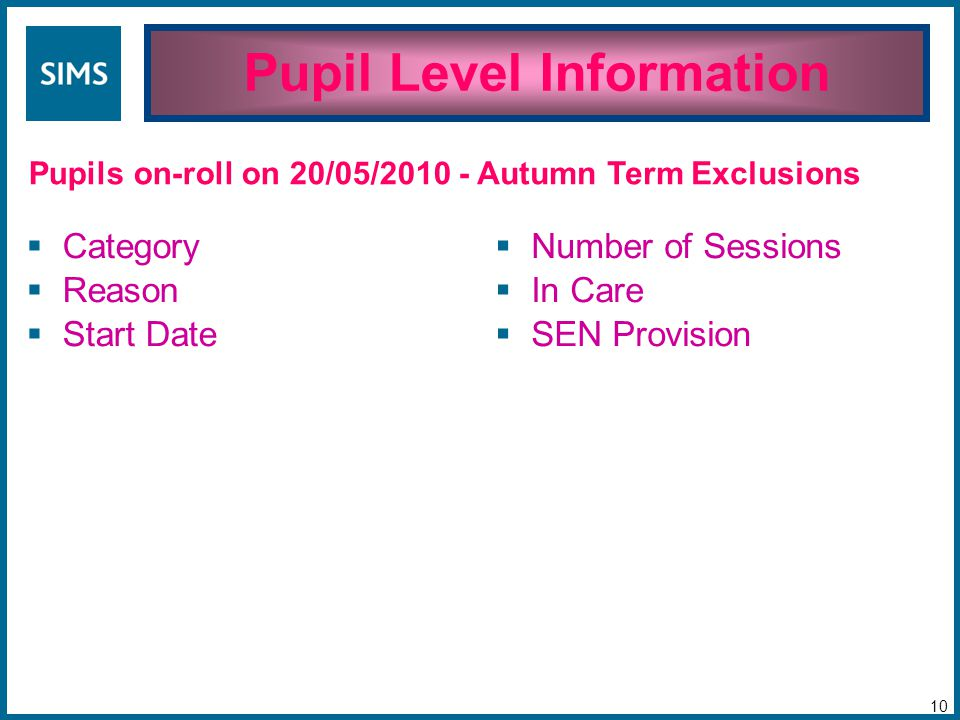 Pupil Level Information 10 Pupils on-roll on 20/05/2010 -  Category  Reason  Start Date  Number of Sessions  In Care  SEN Provision Autumn Term Exclusions
