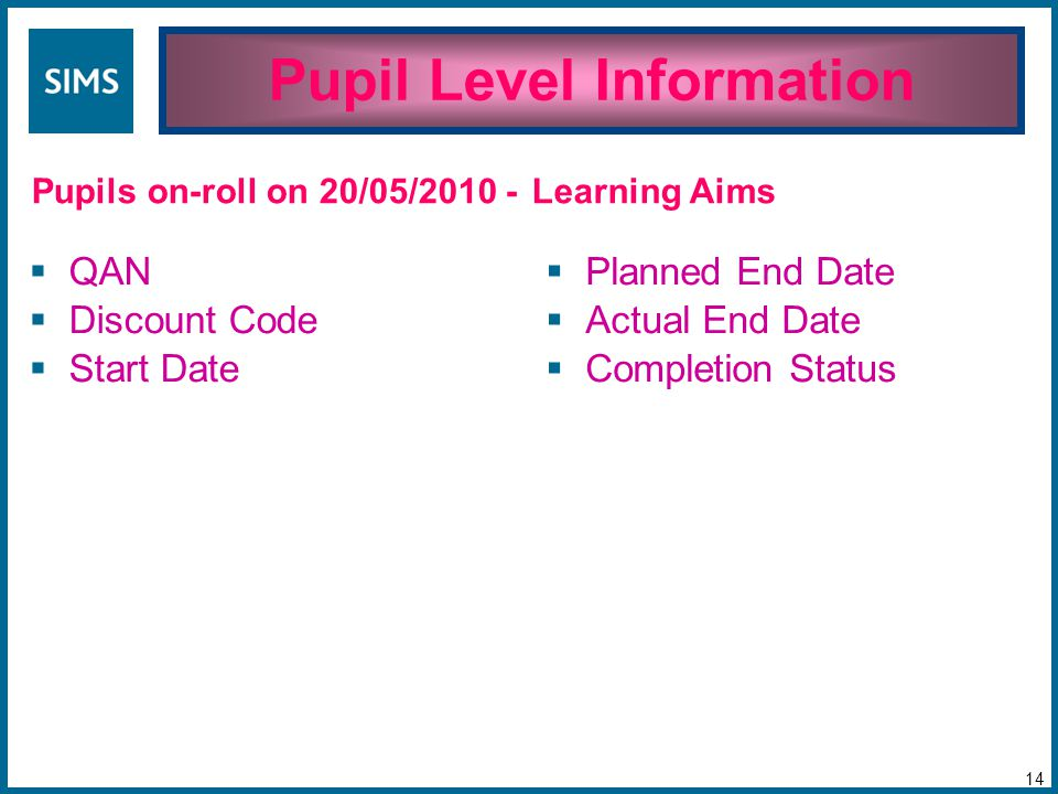 Pupil Level Information 14 Pupils on-roll on 20/05/2010 -  QAN  Discount Code  Start Date  Planned End Date  Actual End Date  Completion Status Learning Aims