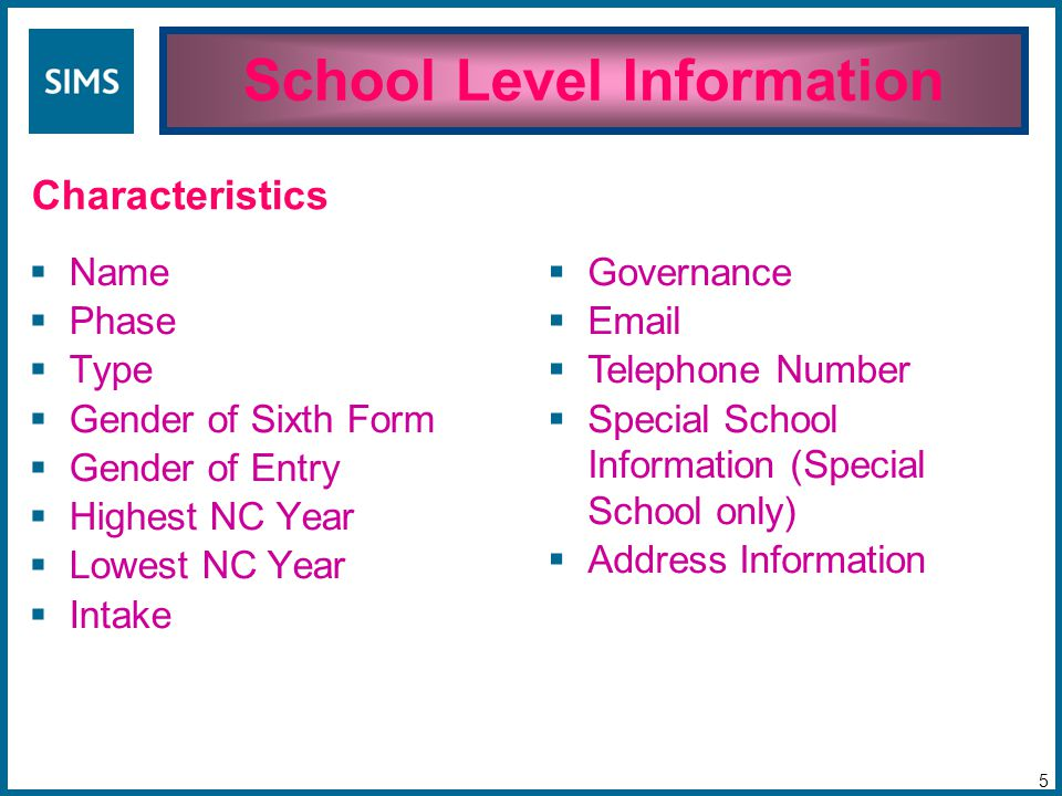 Name  Phase  Type  Gender of Sixth Form  Gender of Entry  Highest NC Year  Lowest NC Year  Intake School Level Information 5 Characteristics  Governance  Email  Telephone Number  Special School Information (Special School only)  Address Information