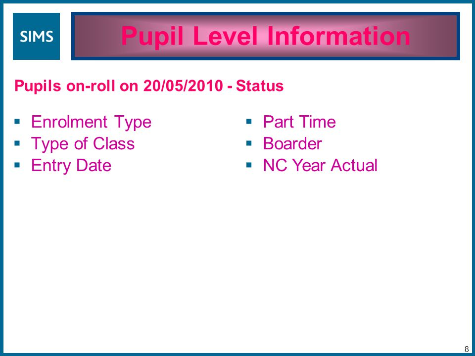 Pupil Level Information 8 Pupils on-roll on 20/05/2010 -  Enrolment Type  Type of Class  Entry Date  Part Time  Boarder  NC Year Actual Status