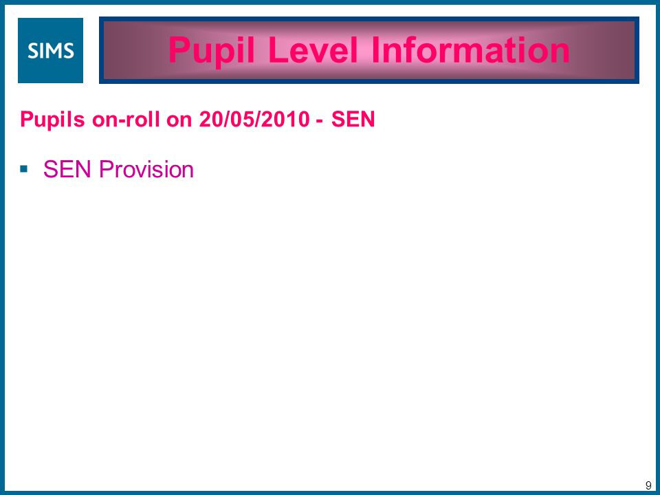 Pupil Level Information 9 Pupils on-roll on 20/05/2010 -  SEN Provision SEN