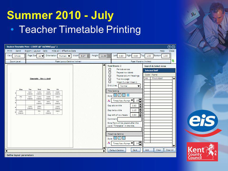 Summer 2010 - July Teacher Timetable Printing