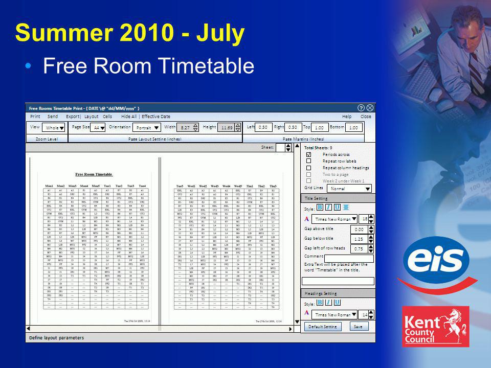 Summer 2010 - July Free Room Timetable