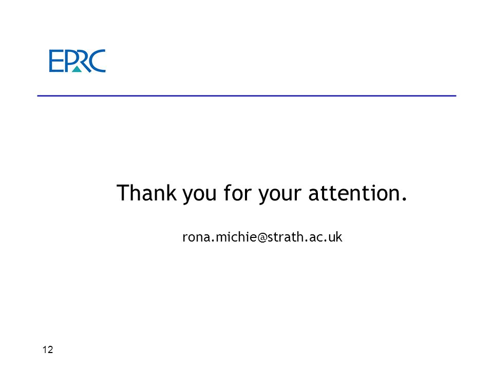 12 Thank you for your attention. rona.michie@strath.ac.uk