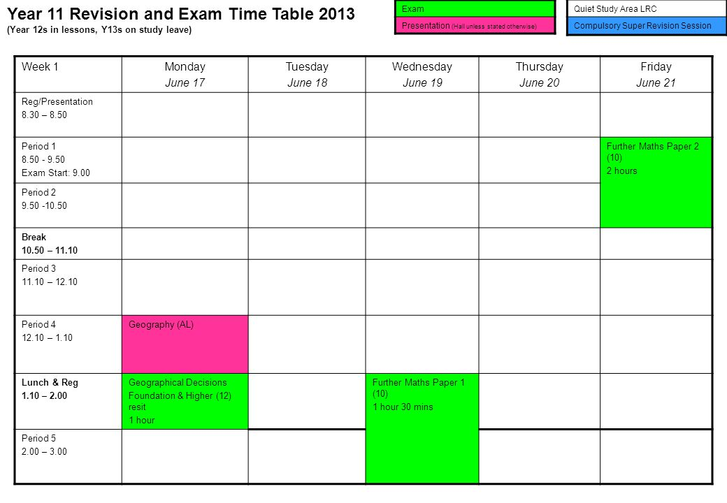Year 11 Revision and Exam Time Table 2013 (Year 12s in lessons, Y13s on study leave) Exam Presentation (Hall unless stated otherwise) Quiet Study Area LRC Compulsory Super Revision Session Week 1Monday June 17 Tuesday June 18 Wednesday June 19 Thursday June 20 Friday June 21 Reg/Presentation 8.30 – 8.50 Period 1 8.50 - 9.50 Exam Start: 9.00 Further Maths Paper 2 (10) 2 hours Period 2 9.50 -10.50 Break 10.50 – 11.10 Period 3 11.10 – 12.10 Period 4 12.10 – 1.10 Geography (AL) Lunch & Reg 1.10 – 2.00 Geographical Decisions Foundation & Higher (12) resit 1 hour Further Maths Paper 1 (10) 1 hour 30 mins Period 5 2.00 – 3.00