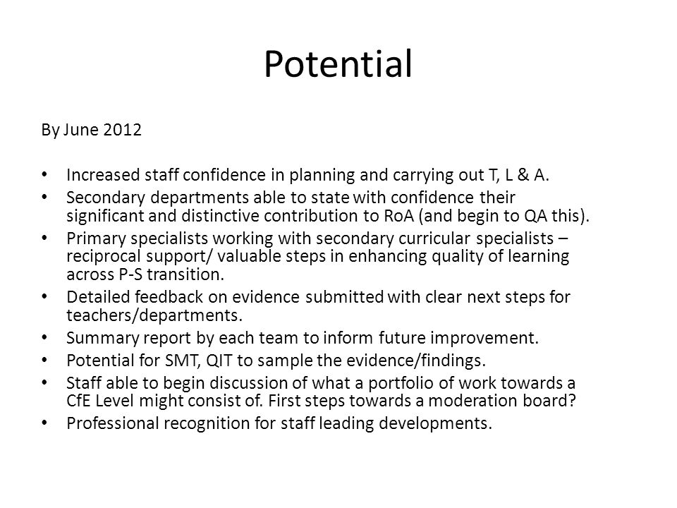 Potential By June 2012 Increased staff confidence in planning and carrying out T, L & A.