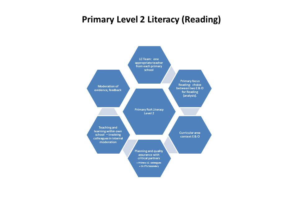 Primary RoA Literacy Level 2 LC Team: one appropriate teacher from each primary school Primary focus Reading: choice between two E & O for Reading (analysis).