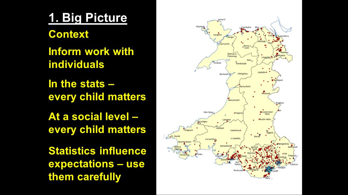 1. Big Picture Context Inform work with individuals In the stats – every child matters At a social level – every child matters Statistics influence ex