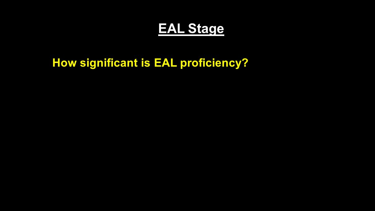 EAL Stage How significant is EAL proficiency?