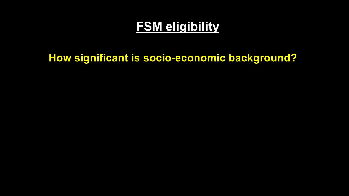 FSM eligibility How significant is socio-economic background?