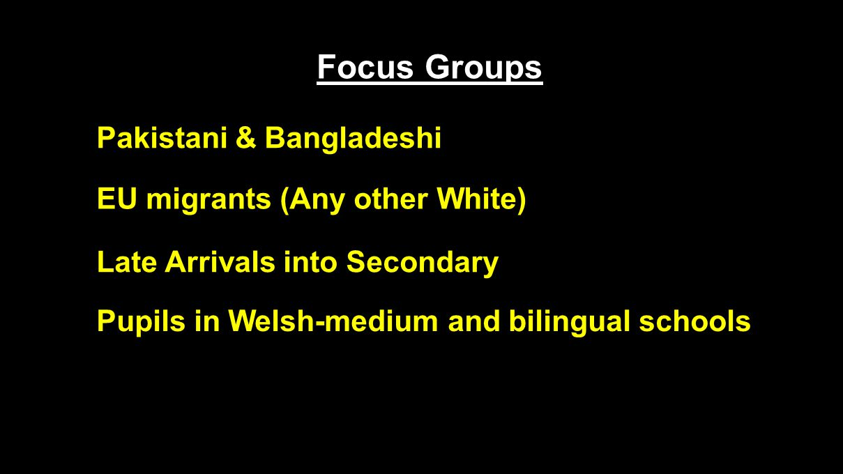 Focus Groups Late Arrivals into Secondary Pupils in Welsh-medium and bilingual schools EU migrants (Any other White) Pakistani & Bangladeshi