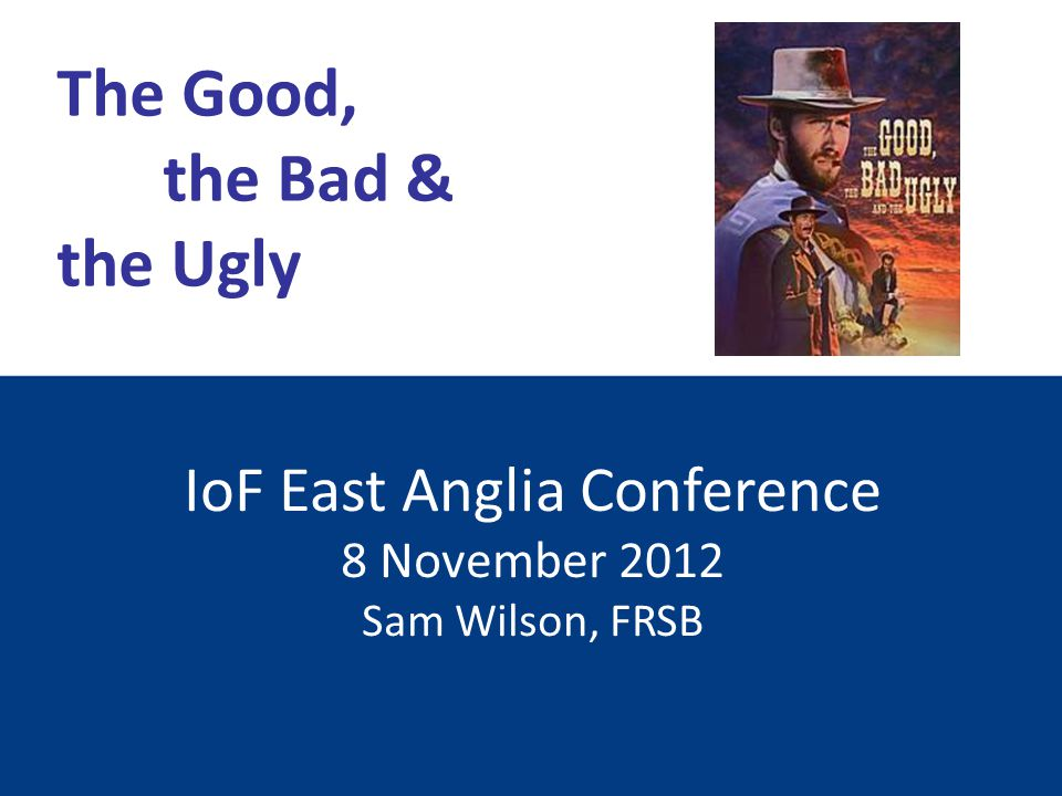 IoF East Anglia Conference 8 November 2012 Sam Wilson, FRSB The Good, the Bad & the Ugly