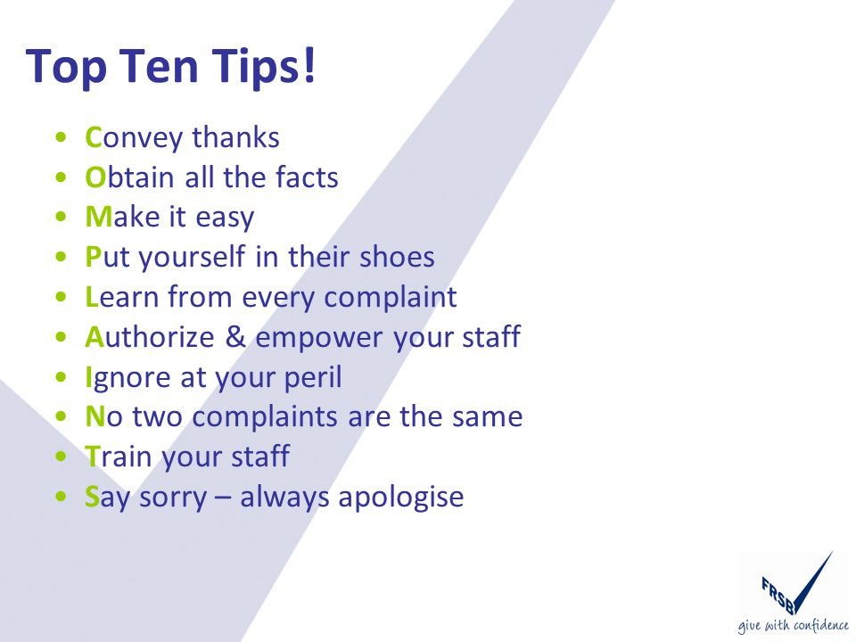 Top Ten Tips.