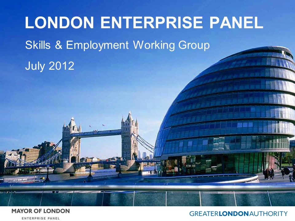 LONDON ENTERPRISE PANEL Skills & Employment Working Group July 2012